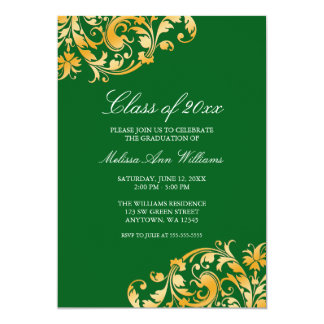 "Green Gold Swirl Graduation Party Announcement 5"" X 7"" Invitation Card"