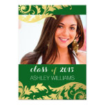 Green Gold Swirls Photo Graduation Announcement 13 Cm X 18 Cm Invitation Card