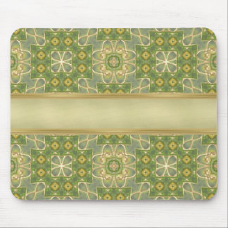 Green Gold Tapestry Mouse Pad