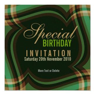 """Green Gold Tartan Square Invitation 5.25"""" Square Invitation Card"""