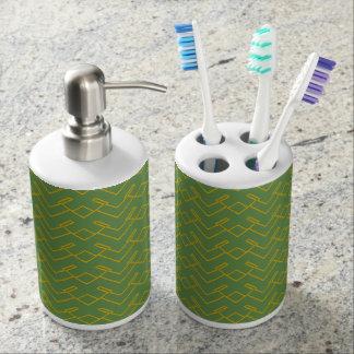 Green Gold Toothbrush Holder Soap Dispenser Set
