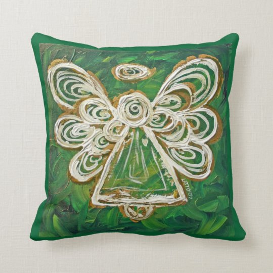 Green, Gold, White Angel Decorative Throw Pillow