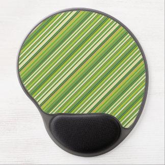 Green Gold White Diagonal Stripe Gel Mouse Pad