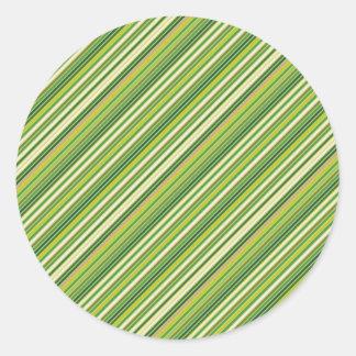 Green Gold White Diagonal Stripe Round Sticker