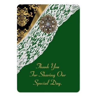 Green gold white lace wedding favor thank you tag pack of chubby business cards