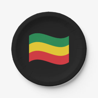 Green, Gold (Yellow) and Red Colors Flag Paper Plate