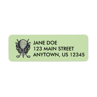 Green Golf Ball and Golfing Clubs Address Labels