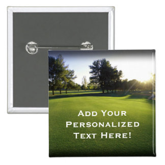 Green Golf Course at Dawn 15 Cm Square Badge