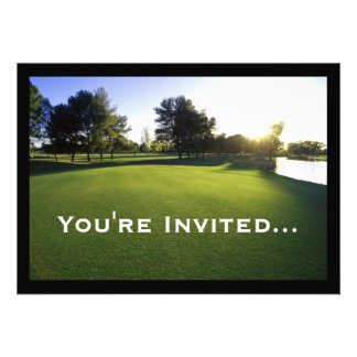 Green Golf Course at Dawn Custom Invitation