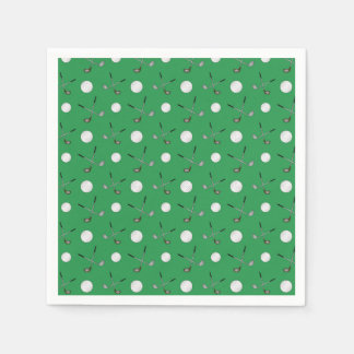 Green golf pattern paper napkin