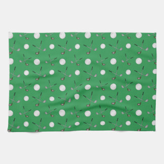 Green golf pattern tea towel