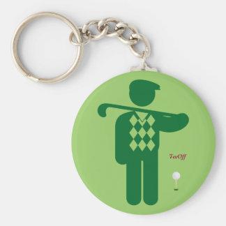 Green golfer keychain