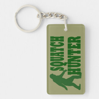 Green gone squatchin slogan text Double-Sided rectangular acrylic key ring