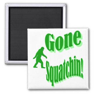 Green gone squatchin slogan text magnets