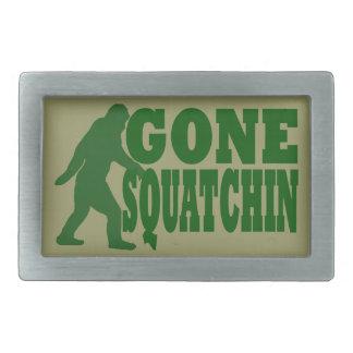 Green gone squatchin slogan text rectangular belt buckle
