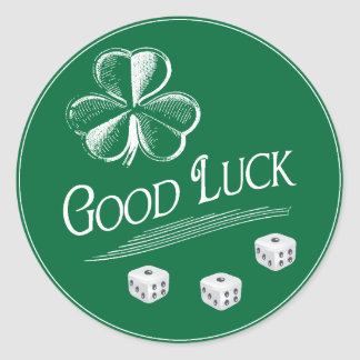 Green Good Luck Bunco Dice Classic Round Sticker