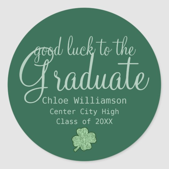 Green Good Luck Shamrock Custom Graduation Sticker