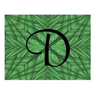 Green gorgeous kaleidoscope monogram post card
