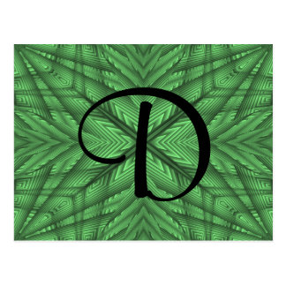Green gorgeous kaleidoscope monogram postcard