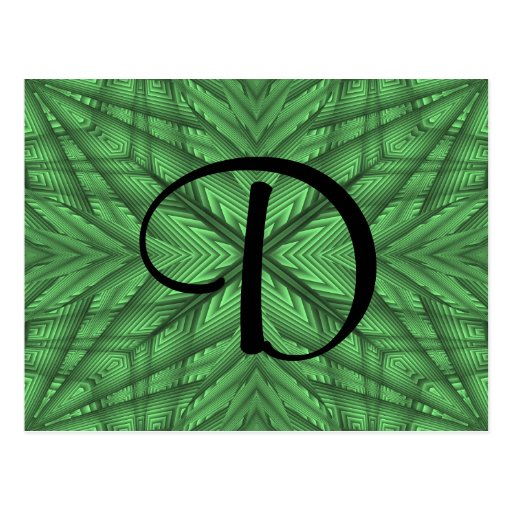 Green gorgeous kaleidoscope monogram post card