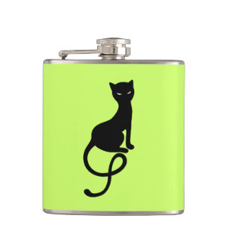 Green Gracious Evil Black Cat Hip Flask