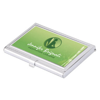 Green Gradient Bamboo Meditation Lessens Card Case For Business Cards
