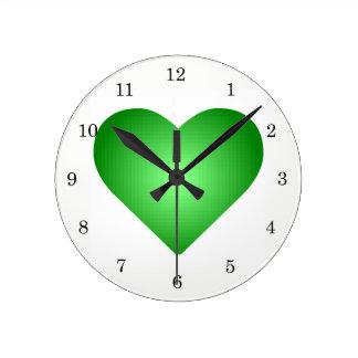 Green Gradient Hearts Wallclock