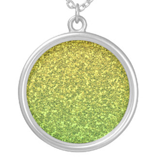 Green  Gradient Round Pendant Necklace