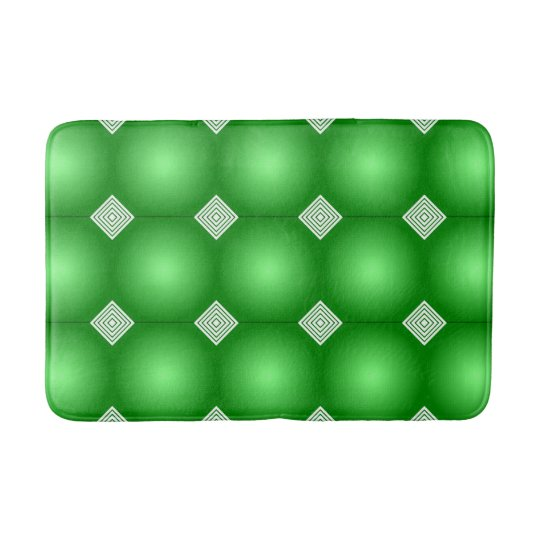 Green Gradient With White Stripes Bath Mats