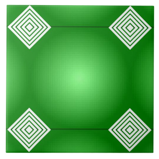 Green Gradient With White Stripes Large Square Tile