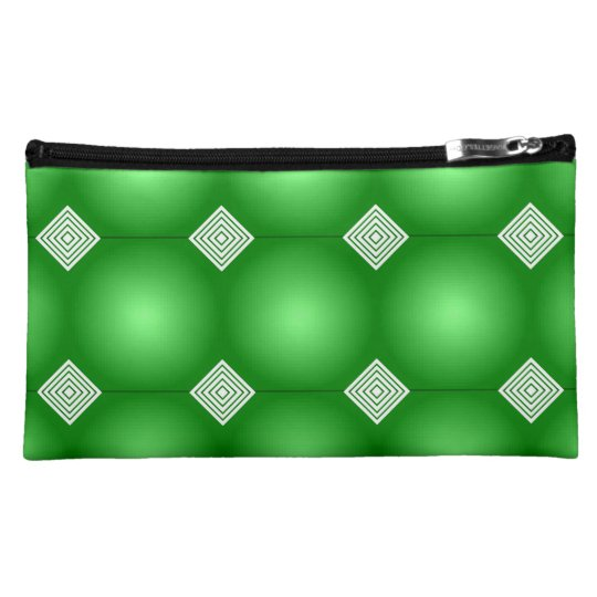 Green Gradient With White Stripes Makeup Bag