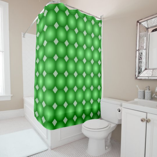 Green Gradient With White Stripes Shower Curtain