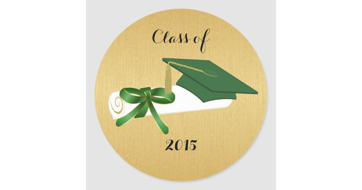 Green Graduation Cap and Diploma With Gold Round Sticker | Zazzle