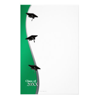 Green Graduation Note Paper Stationery