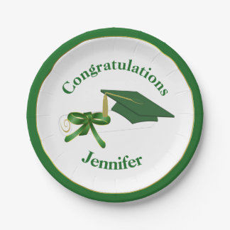Green Graduation Party Paper Plate