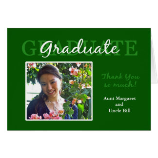 Green Graduation Thank You Photo Card