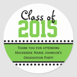 Green Graduation Year Favor Label Stickers