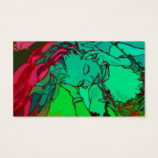 Green graffiti girl business card