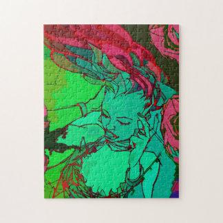 Green graffiti girl puzzles