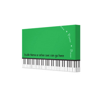 Green Grand Piano Canvas Wrap Horizontal Ex Small Canvas Print