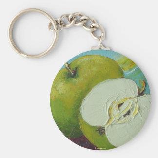 Green Granny Smith Apple Basic Round Button Key Ring