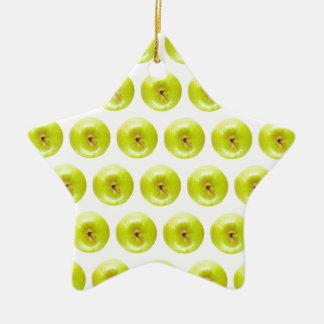 Green Granny Smith Apples Seamless Background Ceramic Star Decoration