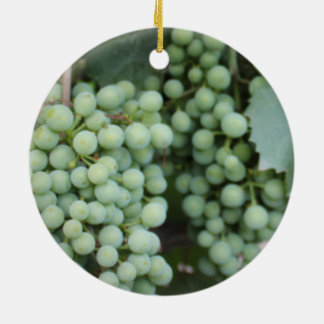 Green Grapes Growing Round Ceramic Decoration