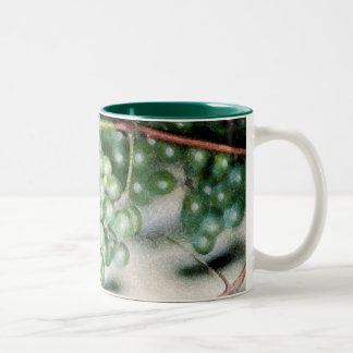 Green Grapes on the Vine (Green Border and Inside) Two-Tone Coffee Mug