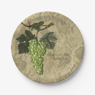 Green Grapes Vineyard Wedding Bridal Party 7 Inch Paper Plate