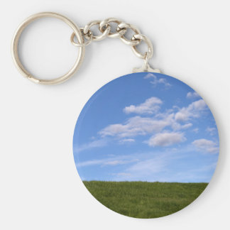 Green Grass and Blue Sky Key Ring