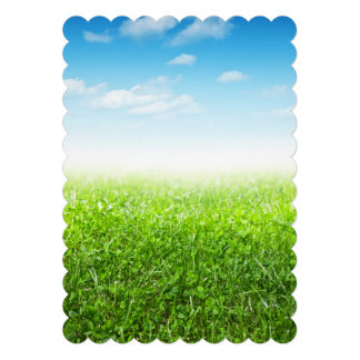 Green Grass And Blue Sky With Clouds Invitations