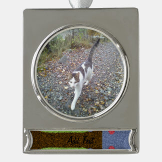 Green grass and blue tree silver plated banner ornament