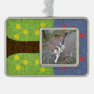 Green grass and blue tree silver plated framed ornament