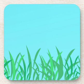 Green Grass & Blue Sky Illustration Beverage Coasters